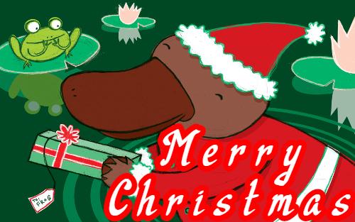 platypus-merry christmas-banner