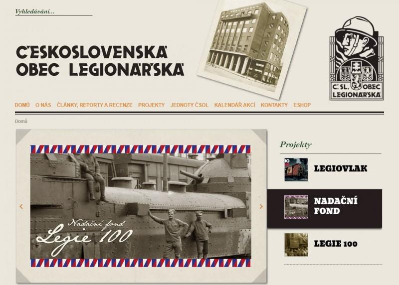 Скрин заглавной страницы сайта ČsOL - Чехословацкого общества легионеров (www.csol.cz).