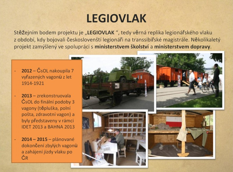 Страница презентации проекта Legie 100.