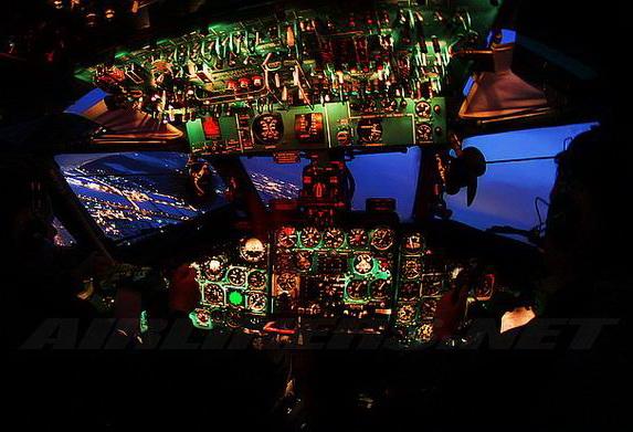 В кабине Ту-134
