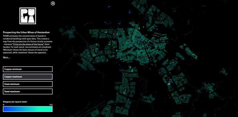 Карта «добычи» металлов из домов Амстердама.