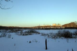 Русло Мерянки в сторону Долгого пруда.  На коньках уже не покатаешься.