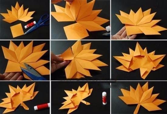Осенние листочки в технике оригами6
