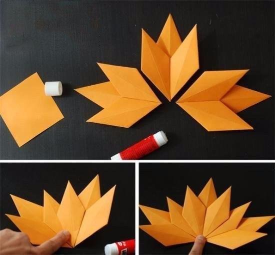 Осенние листочки в технике оригами5