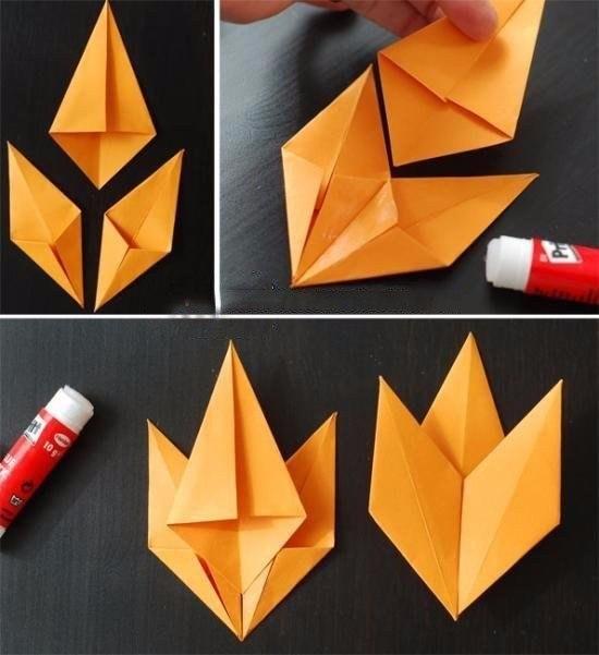 Осенние листочки в технике оригами4