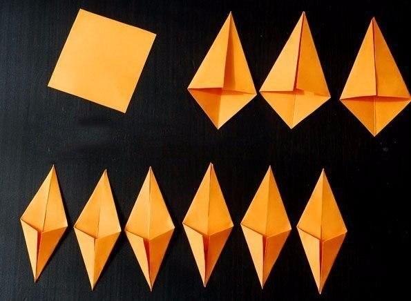 Осенние листочки в технике оригами3