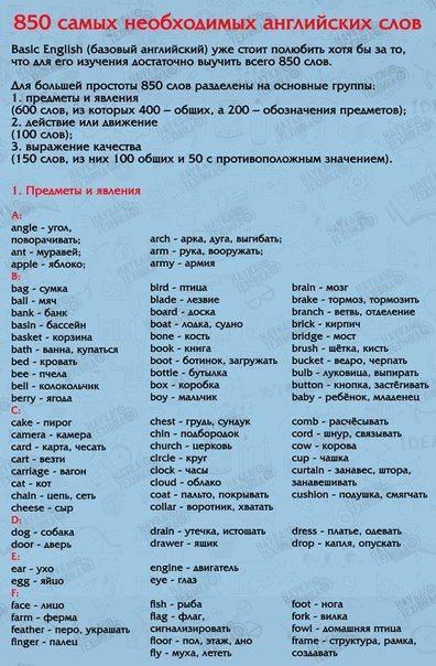 850 слов на английском языке, выучив которые, вы будете свободно говорить