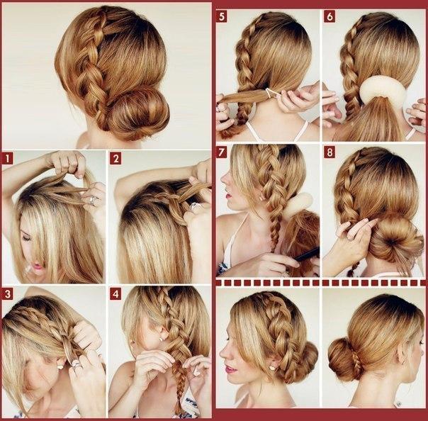 красивые прически на длинные волосы схема