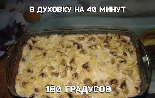 Шикарная куриная запеканка с грибочками под сырным соусом5