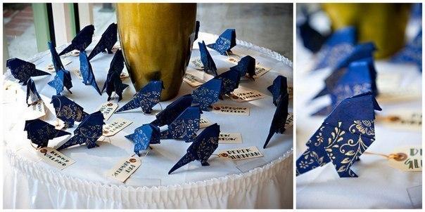 Птички-оригами. Можно использовать как рассадочные карточки