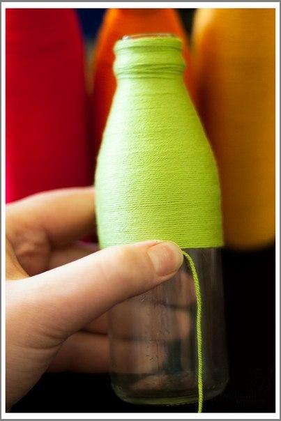 Яркие вазочки из бутылок5