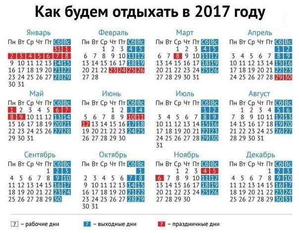Сколько будет в 2017 году выходных