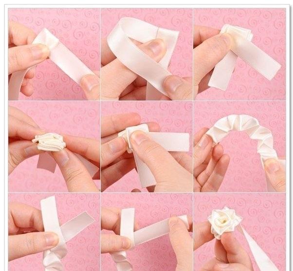 Как сделать из ленточки розу