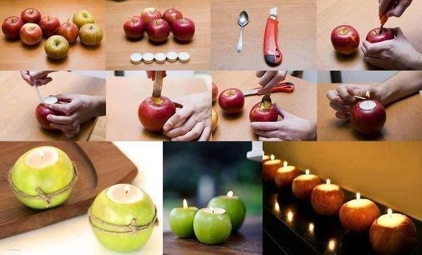 Яблочные подсвечники красиво и ароматно
