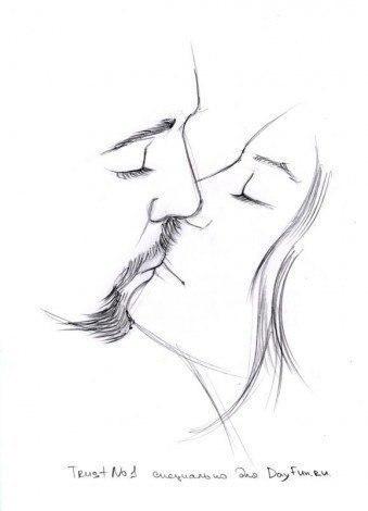 Как нарисовать поцелуй карандашом5