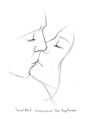 Как нарисовать поцелуй карандашом4
