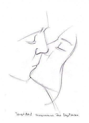 Как нарисовать поцелуй карандашом3