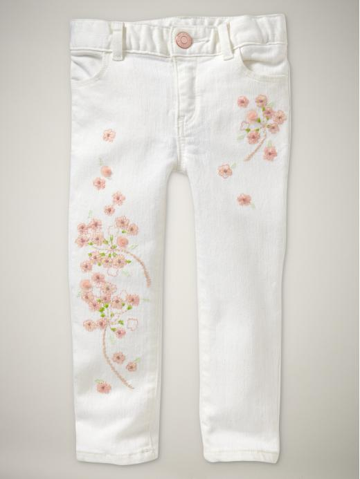 Embroidered mini skinny jeans (white wash)