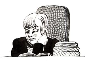 """Судья Александрова. Рисунок из книги Виктории Ломаско и Антона Николаева """"Запретное искусство"""""""