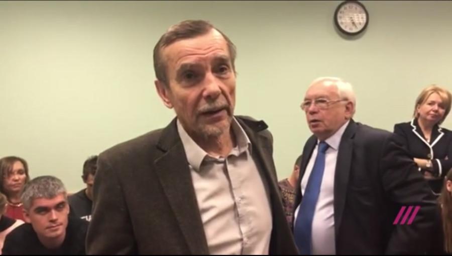 Лев Пономарев на заседании Мосгорсуда по его делу 7 декабря 2018 г. Кадр телеканала Дождь