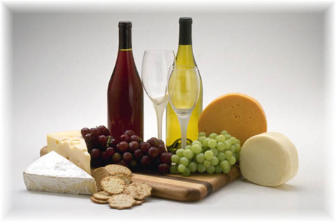 photograph of wine and cheese
