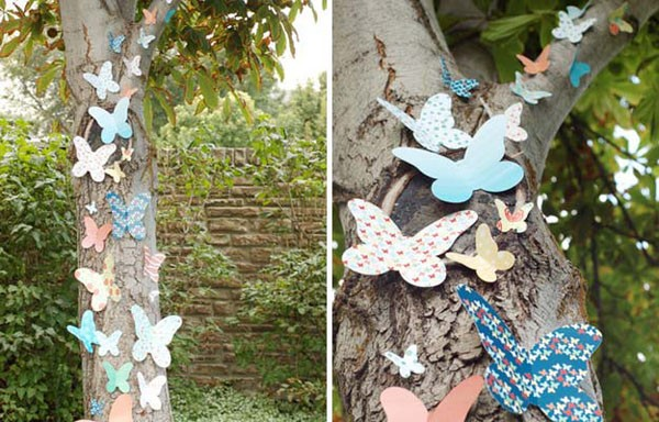 Украшение деревьев на свадьбу