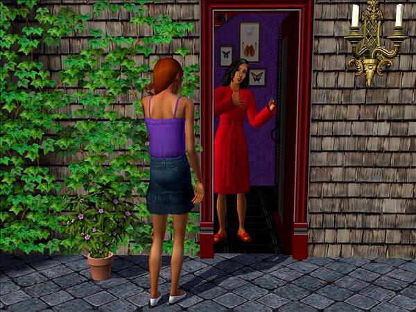 Bella at door