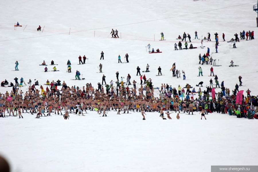 Заезд в бикини, горнолыжный курорт Шерегеш