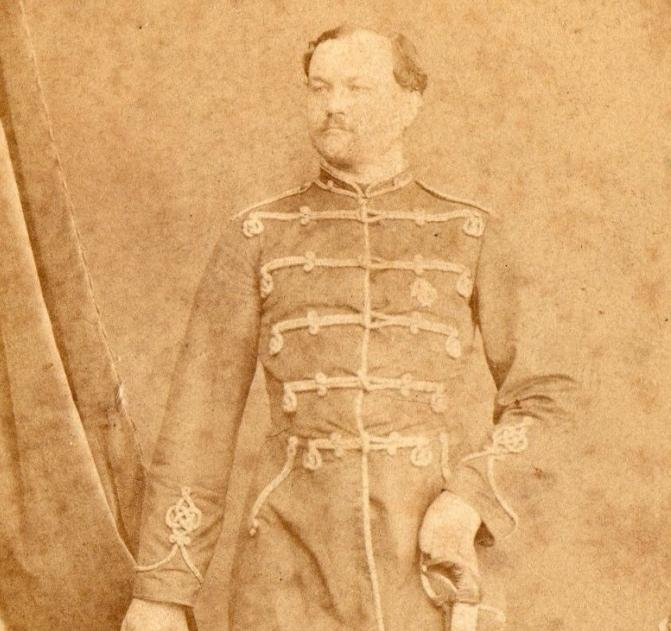 buum 2Российская империя, до 1867 года. Оригинальная фотография офицера гусарского полка с саблей, сделанная в студии элитного фотографа К.П. Бергамаско.