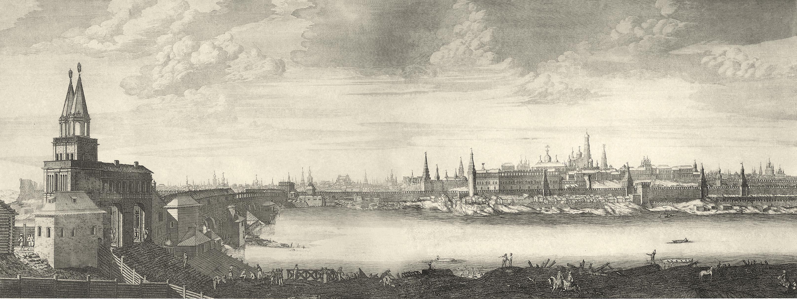 1707-1708. Вид Москвы от Каменного моста.