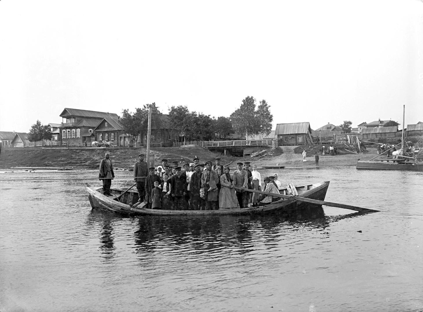 35Паром на реке Волге у села Селижарова. 1903 г. Тверская губерния.