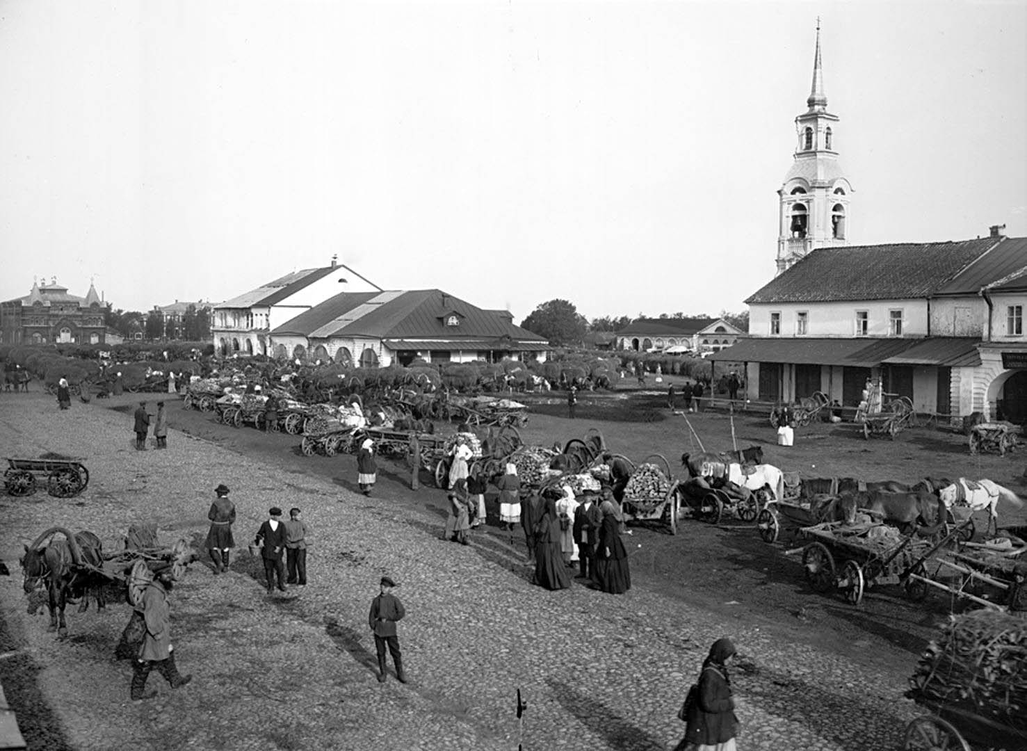 78Общий вид рыночной площади. 1903 г. г. Осташков, Тверская губерния