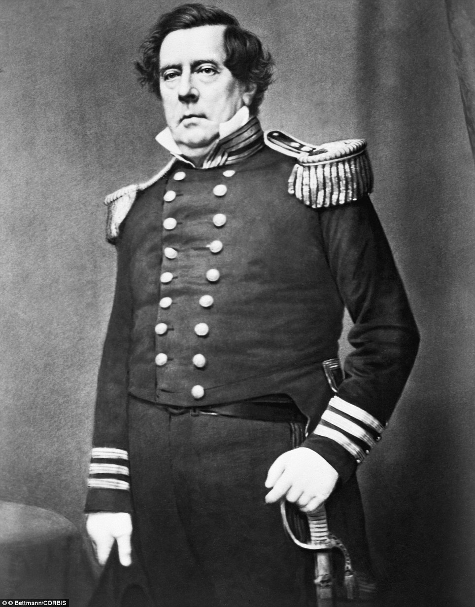 Commodore Matthew Calbraith Perry (1794-1858), the man was known to have 'opened Japan' pictured by Matthew Brady in the late 1850s