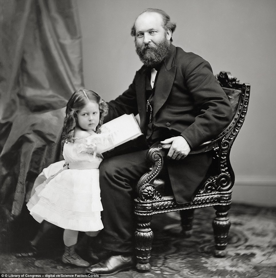 James A. Garfield, who would be the 20th president of the United States, and was assassinated after only six months in office in 1881, with his daughter, ca. 1865,