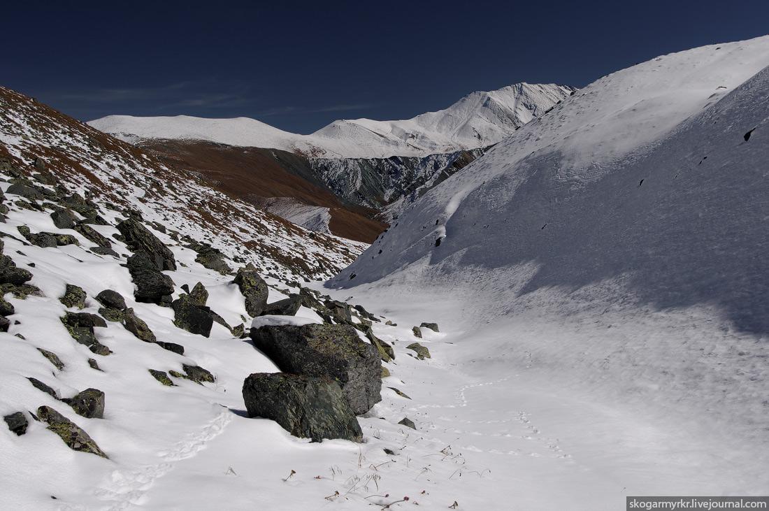 перевал Кара-Тюрек Белуха Катунский хребет Горный Алтай поход туризм сентябрь снег