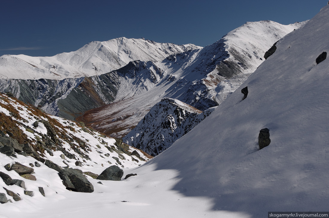 Кара-Тюрек перевал белуха поход фото туризм снег Катунский Хребет Ярлу долина