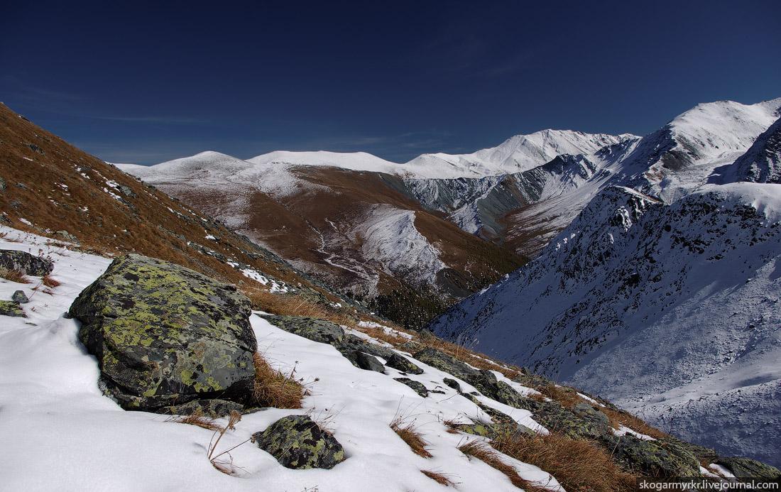Ярлу долина белуха поход тропа перевал Кара-Тюрек Катунский хребет сентябрь снег туризм