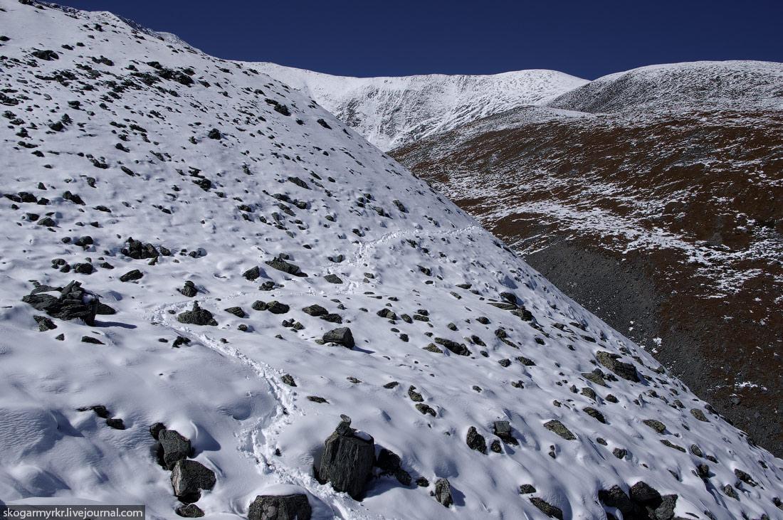 перевал Кара-Тюрек фото тропа аккемское озеро Белуха поход сентябрь снег туризм Катунский хребет