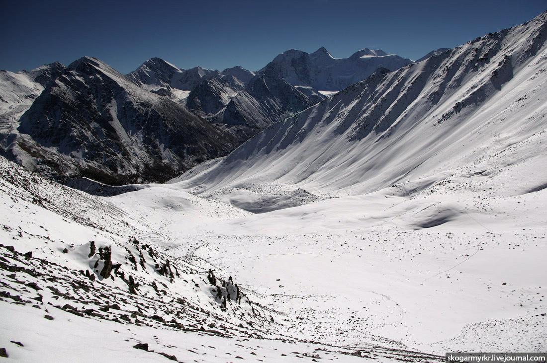 спуск перевал Кара-Тюрек Белуха Аккемское озеро Горный Алтай фото сентябрь туризм поход снег отчёт