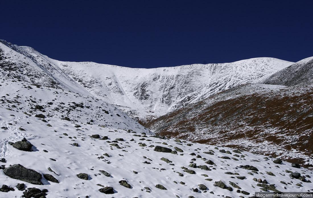 перевал Кара-Тюрек фото поход туризм снег сентябрь Белуха Аккем