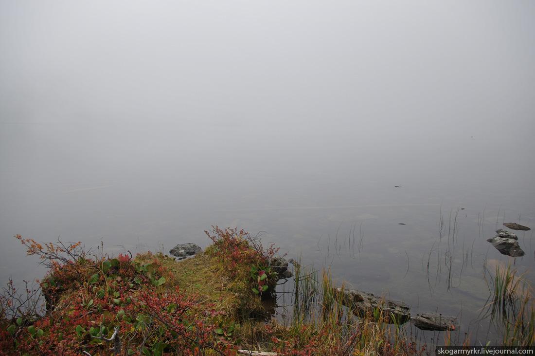 Горный Алтай, Каракольские озёра осенью, туман фото