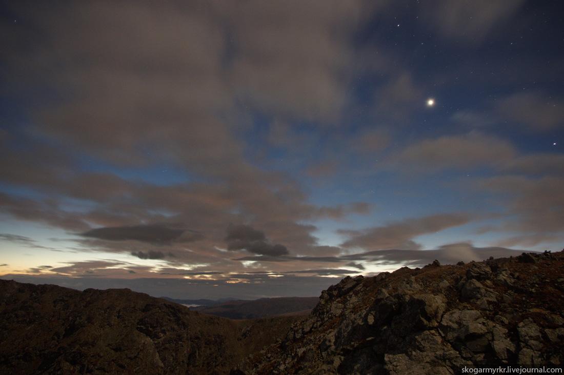 заря на Багаташе ночью, Каракольские озёра, Горный Алтай ночное фото Белок Озёрный