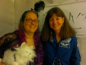 Me with my animatronic cat and astronaut, Cady Coleman