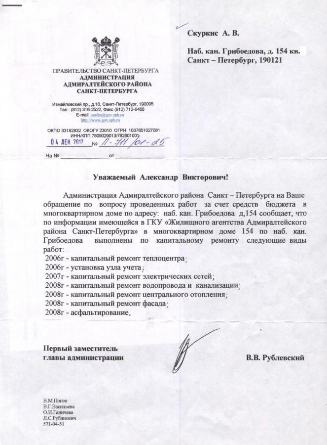 Ответ Рублевского - кап. ремонт