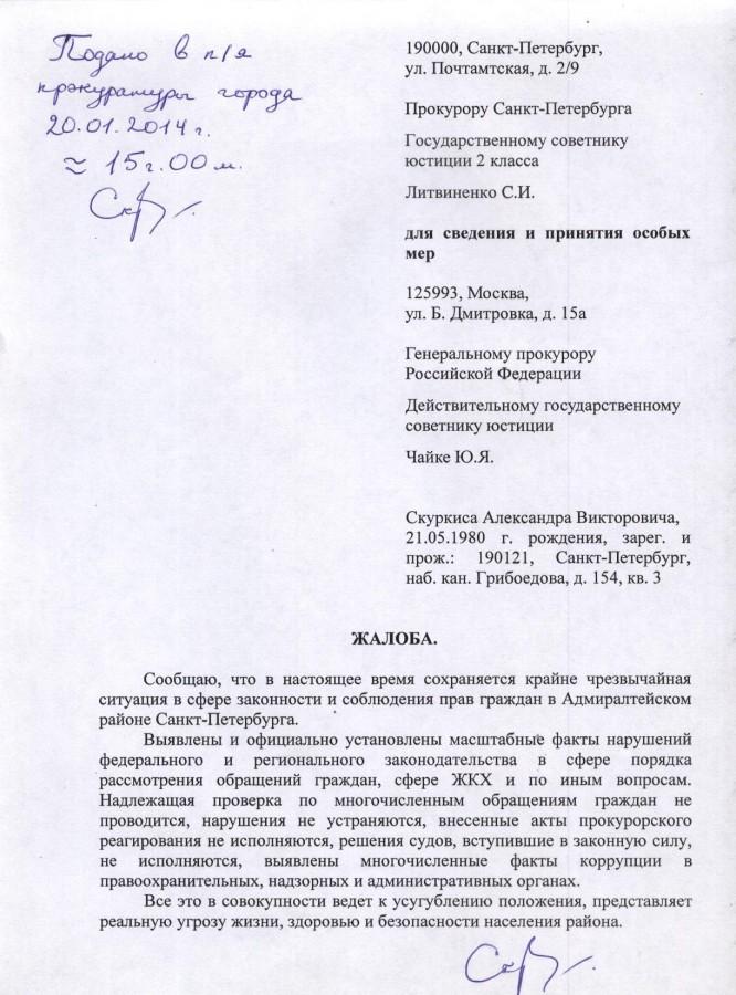 Литвиненко и Чайке на Попову 20.01.14 г. - 1 стр.
