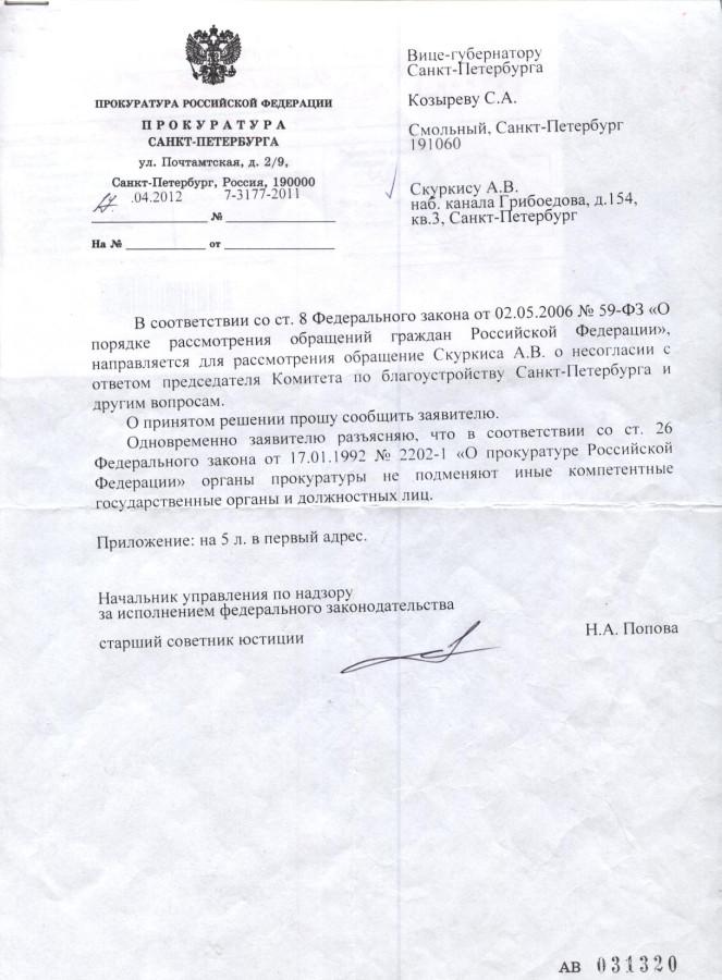 Сопроводительное прокуратуры города Козыреву