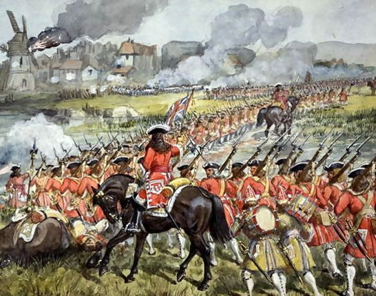 The-16th-Regiment-Of-Foot-At-Blenheim,-13th-August-1704,-C.1900