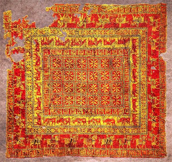 Пазырыкский ковёр - красные участки