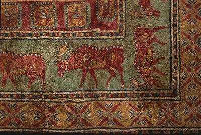 Пазырыкский ковёр, фрагмент - олени