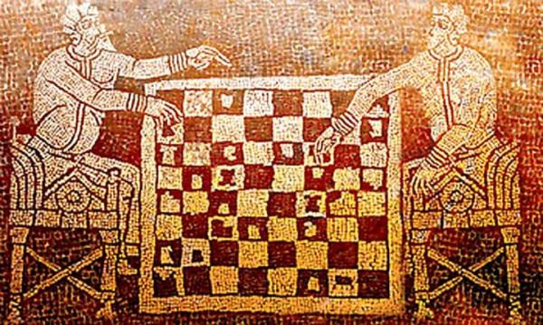 Мозаика с шахматной игрой